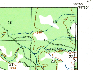 Reduced fragment of topographic map en--usgs--063k--064050--(1939)--N035-30_W091-00--N035-15_W090-45; towns and cities Hickory Ridge, Cherry Valley, Fisher
