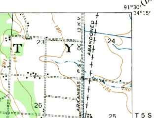 Reduced fragment of topographic map en--usgs--063k--064051--(1935)--N034-15_W091-45--N034-00_W091-30 in area of Douglas Old Lake; towns and cities Grady