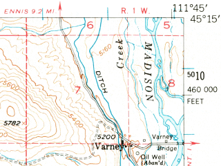 Reduced fragment of topographic map en--usgs--063k--064052--(1949)--N045-15_W112-00--N045-00_W111-45