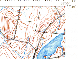 Reduced fragment of topographic map en--usgs--063k--064054--(1893)--N044-30_W069-45--N044-15_W069-30 in area of China Lake, Webber Pond, Threemile Pond; towns and cities Augusta