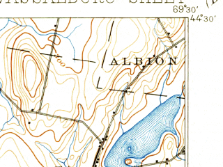 Reduced fragment of topographic map en--usgs--063k--064054--(1898)--N044-30_W069-45--N044-15_W069-30 in area of China Lake, Webber Pond, Threemile Pond; towns and cities Augusta