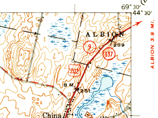 Reduced fragment of topographic map en--usgs--063k--064054--(1941)--N044-30_W069-45--N044-15_W069-30 in area of China Lake, Webber Pond, Threemile Pond; towns and cities Augusta