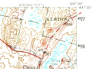 Reduced fragment of topographic map en--usgs--063k--064054--(1956)--N044-30_W069-45--N044-15_W069-30 in area of China Lake, Webber Pond, Threemile Pond; towns and cities Augusta