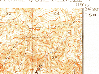 Reduced fragment of topographic map en--usgs--063k--064069--(1904)--N034-30_W119-30--N034-15_W119-15 in area of Lake Casitas; towns and cities Ventura, Mira Monte, Meiners Oaks, Oak View