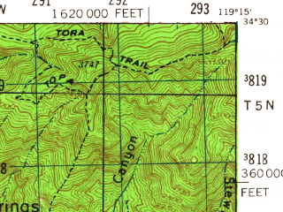 Reduced fragment of topographic map en--usgs--063k--064069--(1941)--N034-30_W119-30--N034-15_W119-15 in area of Lake Casitas; towns and cities Ventura, Mira Monte, Meiners Oaks, Oak View