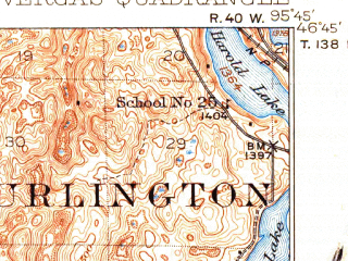 Reduced fragment of topographic map en--usgs--063k--064073--(1915)--N046-45_W096-00--N046-30_W095-45 in area of Franklin Lake; towns and cities Vergas