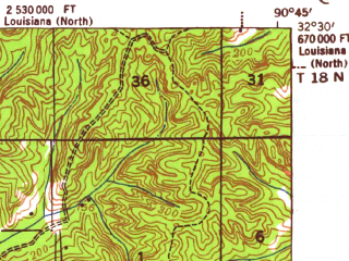 Reduced fragment of topographic map en--usgs--063k--064090--(1941)--N032-30_W091-00--N032-15_W090-45; towns and cities Vicksburg, Delta