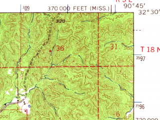 Reduced fragment of topographic map en--usgs--063k--064090--(1964)--N032-30_W091-00--N032-15_W090-45; towns and cities Vicksburg, Delta