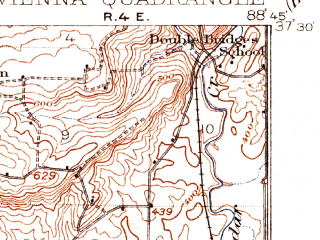 Reduced fragment of topographic map en--usgs--063k--064101--(1918)--N037-30_W089-00--N037-15_W088-45; towns and cities Belknap, Buncombe, Karnak