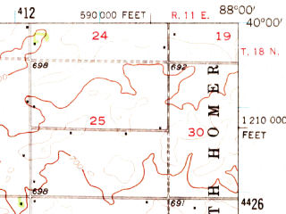 Reduced fragment of topographic map en--usgs--063k--064105--(1956)--N040-00_W088-15--N039-45_W088-00; towns and cities Camargo, Longview, Villa Grove