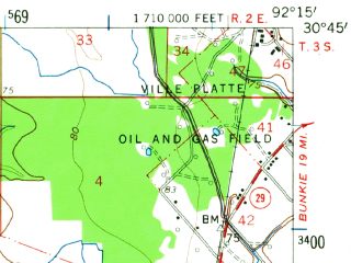 Reduced fragment of topographic map en--usgs--063k--064109--(1960)--N030-45_W092-30--N030-30_W092-15; towns and cities Ville Platte, Chataignier, Mamou