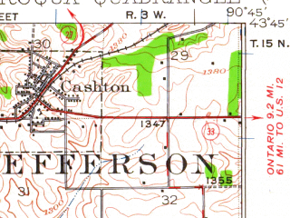 Reduced fragment of topographic map en--usgs--063k--064124--(1923)--N043-45_W091-00--N043-30_W090-45; towns and cities Cashton, Viroqua, Westby