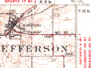 Reduced fragment of topographic map en--usgs--063k--064124--(1926)--N043-45_W091-00--N043-30_W090-45; towns and cities Cashton, Viroqua, Westby