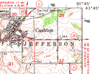 Reduced fragment of topographic map en--usgs--063k--064124--(1965)--N043-45_W091-00--N043-30_W090-45; towns and cities Westby, Cashton, Viroqua