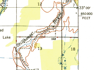 Reduced fragment of topographic map en--usgs--063k--064127--(1948)--N033-00_W094-00--N032-45_W093-45 in area of Black Bayou Lake; towns and cities Hosston, Rodessa, Vivian