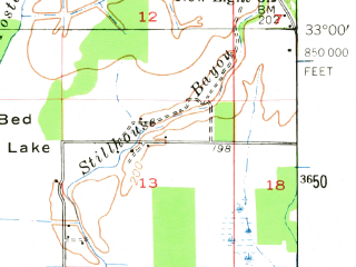 Reduced fragment of topographic map en--usgs--063k--064127--(1956)--N033-00_W094-00--N032-45_W093-45 in area of Black Bayou Lake; towns and cities Belcher, Gilliam, Hosston