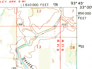 Reduced fragment of topographic map en--usgs--063k--064127--(1971)--N033-00_W094-00--N032-45_W093-45 in area of Black Bayou Lake; towns and cities Belcher, Gilliam, Hosston