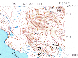 Reduced fragment of topographic map en--usgs--063k--064140--(1963)--N045-15_W068-00--N045-00_W067-45 in area of Third Machias Lake, Wabassus Lake