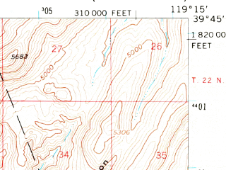 Reduced fragment of topographic map en--usgs--063k--064151--(1957)--N039-45_W119-30--N039-30_W119-15; towns and cities Wadsworth