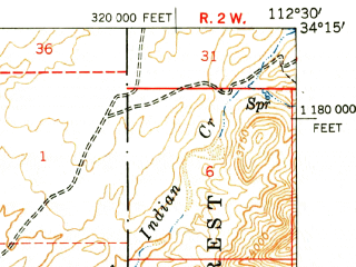 Reduced fragment of topographic map en--usgs--063k--064154--(1950)--N034-15_W112-45--N034-00_W112-30