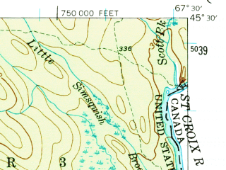 Reduced fragment of topographic map en--usgs--063k--064173--(1940)--N045-30_W067-45--N045-15_W067-30