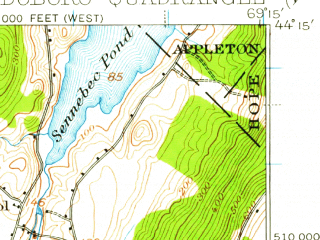 Reduced fragment of topographic map en--usgs--063k--064186--(1913)--N044-15_W069-30--N044-00_W069-15 in area of Medomak, Pemaquid Pond, Back Cove; towns and cities Waldoboro