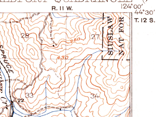 Reduced fragment of topographic map en--usgs--063k--064187--(1922)--N044-30_W124-15--N044-15_W124-00; towns and cities Waldport, Yachats