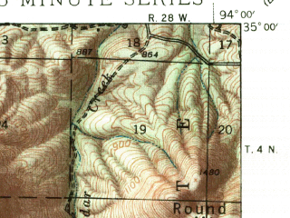 Reduced fragment of topographic map en--usgs--063k--064189--(1939)--N035-00_W094-15--N034-45_W094-00; towns and cities Waldron
