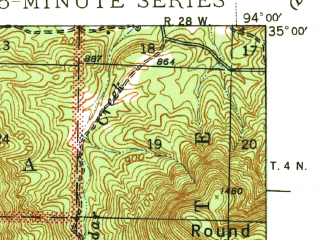 Reduced fragment of topographic map en--usgs--063k--064189--(1941)--N035-00_W094-15--N034-45_W094-00; towns and cities Waldron