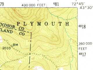 Reduced fragment of topographic map en--usgs--063k--064203--(1955)--N043-30_W073-00--N043-15_W072-45; towns and cities Wallingford