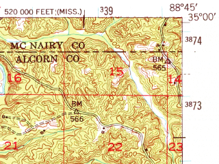 Reduced fragment of topographic map en--usgs--063k--064207--(1951)--N035-00_W089-00--N034-45_W088-45; towns and cities Falkner, Walnut