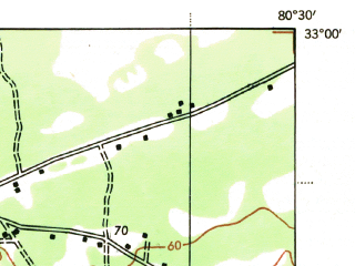 Reduced fragment of topographic map en--usgs--063k--064212--(1943)--N033-00_W080-45--N032-45_W080-30; towns and cities Walterboro