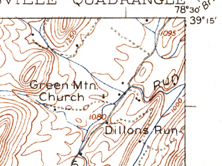 Reduced fragment of topographic map en--usgs--063k--064228--(1922)--N039-15_W078-45--N039-00_W078-30; towns and cities Wardensville