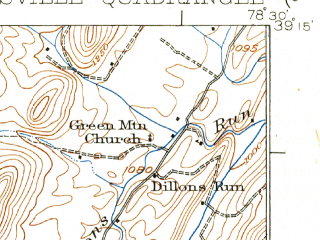 Reduced fragment of topographic map en--usgs--063k--064228--(1924)--N039-15_W078-45--N039-00_W078-30; towns and cities Wardensville