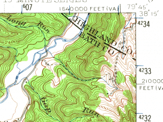 Reduced fragment of topographic map en--usgs--063k--064233--(1946)--N038-15_W080-00--N038-00_W079-45