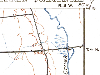 Reduced fragment of topographic map en--usgs--063k--064242--(1908)--N041-15_W081-00--N041-00_W080-45 in area of Meander Creek Reservoir, Lake Milton; towns and cities Warren, Niles, Canfield, Bolindale, Craig Beach