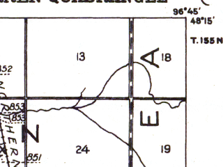 Reduced fragment of topographic map en--usgs--063k--064243--(1918)--N048-15_W097-00--N048-00_W096-45; towns and cities Alvarado, Warren
