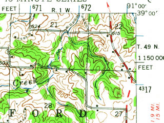 Reduced fragment of topographic map en--usgs--063k--064247--(1943)--N039-00_W091-15--N038-45_W091-00; towns and cities Hawk Point, Truesdale, Warrenton