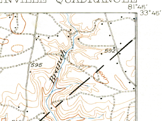 Reduced fragment of topographic map en--usgs--063k--064250--(1923)--N033-45_W082-00--N033-30_W081-45; towns and cities North Augusta, Belvedere, Burnettown, Clearwater, Gloverville