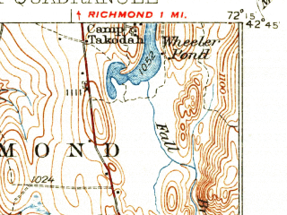Reduced fragment of topographic map en--usgs--063k--064254--(1935)--N042-45_W072-30--N042-30_W072-15; towns and cities Millers Falls, Northfield, Orange