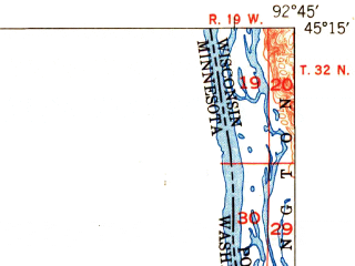 Reduced fragment of topographic map en--usgs--063k--064260--(1949)--N045-15_W093-00--N045-00_W092-45 in area of Big Marine Lake, White Bear Lake; towns and cities North St. Paul, Stillwater, Mahtomedi, Bayport, Birchwood Village