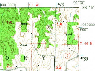 Reduced fragment of topographic map en--usgs--063k--064261--(1948)--N038-45_W091-15--N038-30_W091-00; towns and cities Washington, Marthasville, New Haven