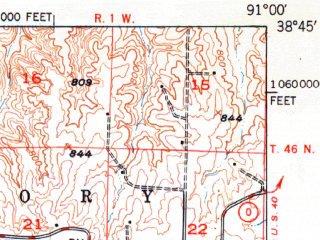Reduced fragment of topographic map en--usgs--063k--064261--(1949)--N038-45_W091-15--N038-30_W091-00; towns and cities Washington, Marthasville, New Haven