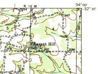 Reduced fragment of topographic map en--usgs--063k--064268--(1945)--N032-30_W094-15--N032-15_W094-00; towns and cities Waskom