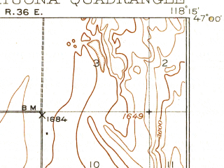 Reduced fragment of topographic map en--usgs--063k--064270--(1925)--N047-00_W118-30--N046-45_W118-15; towns and cities Washtucna