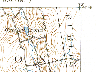 Reduced fragment of topographic map en--usgs--063k--064275--(1893)--N041-45_W073-15--N041-30_W073-00 in area of Bantam Lake; towns and cities Waterbury, Oakville, Terryville, Bantam, Bethlehem Village