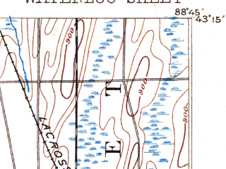 Reduced fragment of topographic map en--usgs--063k--064279--(1891)--N043-15_W089-00--N043-00_W088-45 in area of Rock Lake; towns and cities Jefferson, Johnson Creek, Lake Mills, Lake Ripley