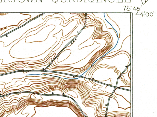 Reduced fragment of topographic map en--usgs--063k--064282--(1909)--N044-00_W076-00--N043-45_W075-45; towns and cities Watertown, Adams Center