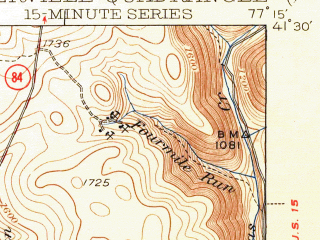 Reduced fragment of topographic map en--usgs--063k--064284--(1943)--N041-30_W077-30--N041-15_W077-15