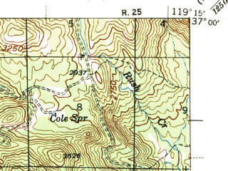 Reduced fragment of topographic map en--usgs--063k--064293--(1944)--N037-00_W119-30--N036-45_W119-15